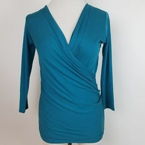 Max Mara Italy Teal Faux Wrap Jersey Blouse Small